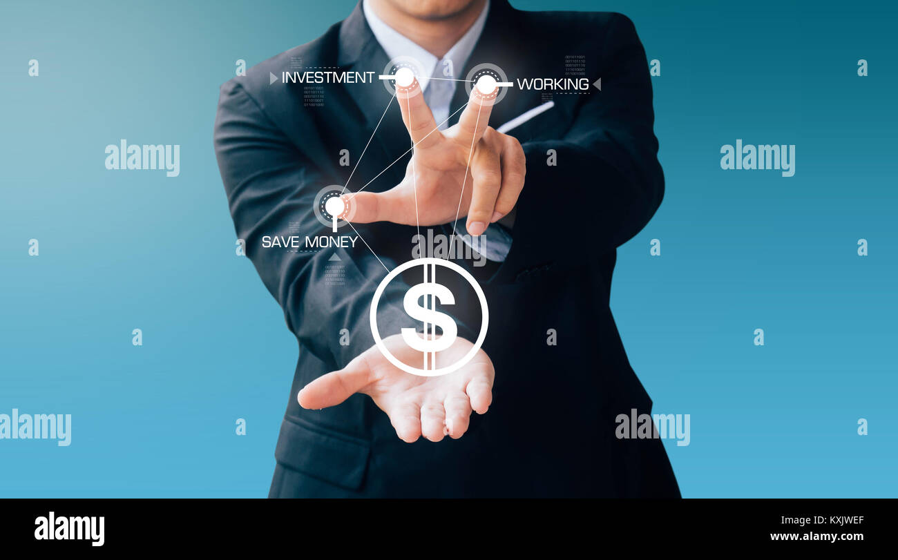 business man press button about money and invest, modern digital online concept - Stock Image