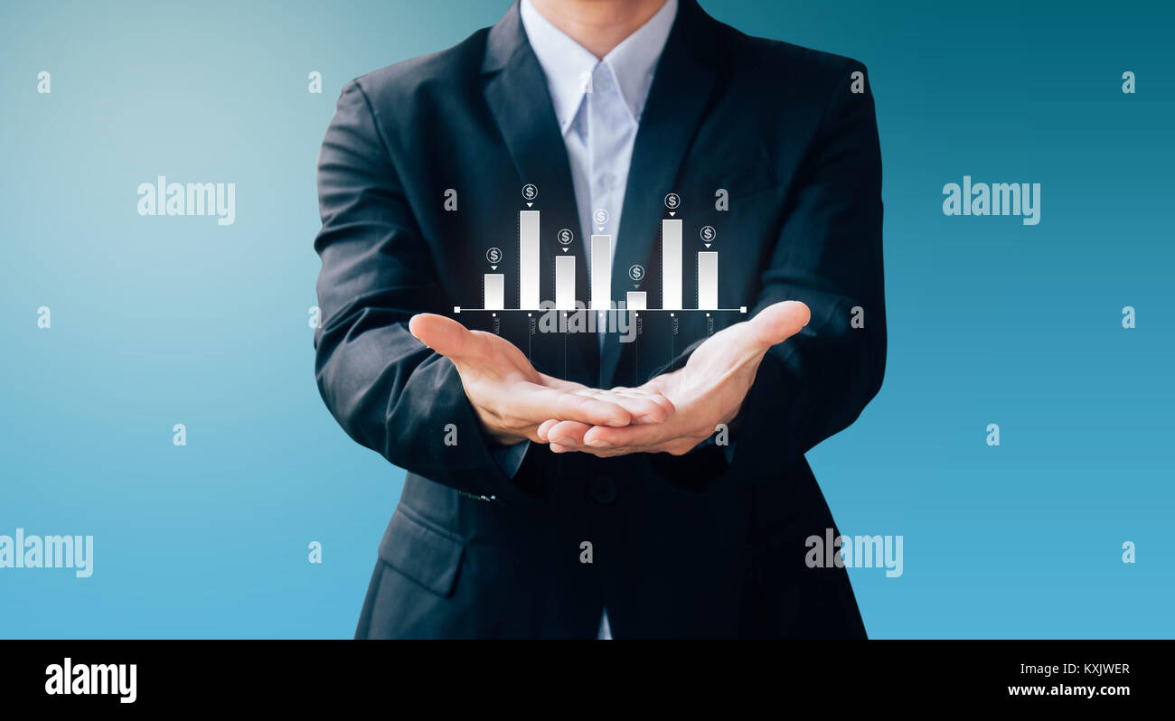 business man show infographic about statistics money and invest, modern digital online concept - Stock Image