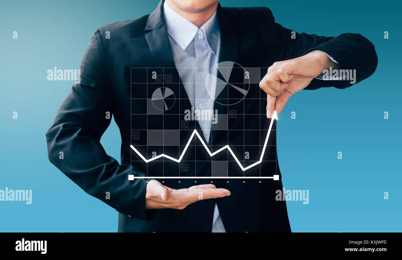 business man hand sign about increase profit, Internet online concept - Stock Image