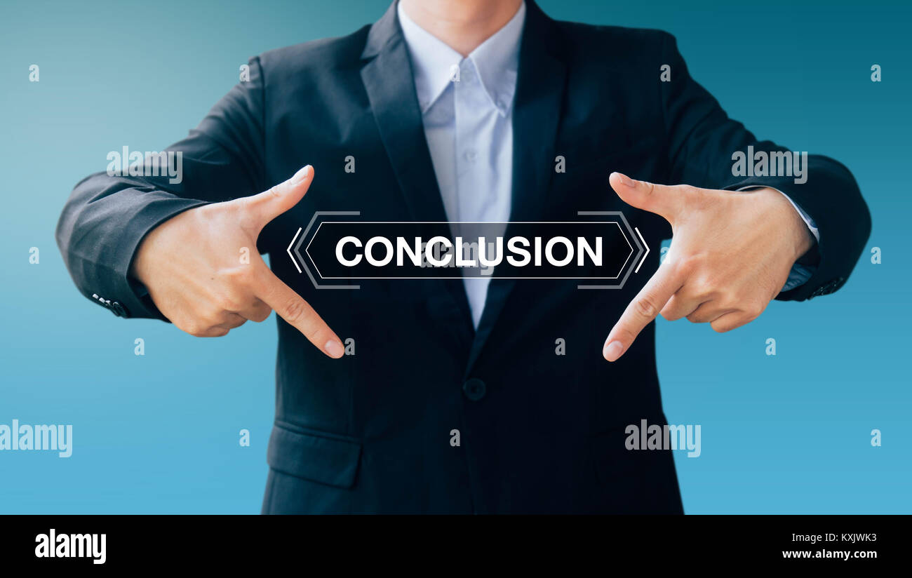 business man show hand sign conclusion, modern digital online concept - Stock Image
