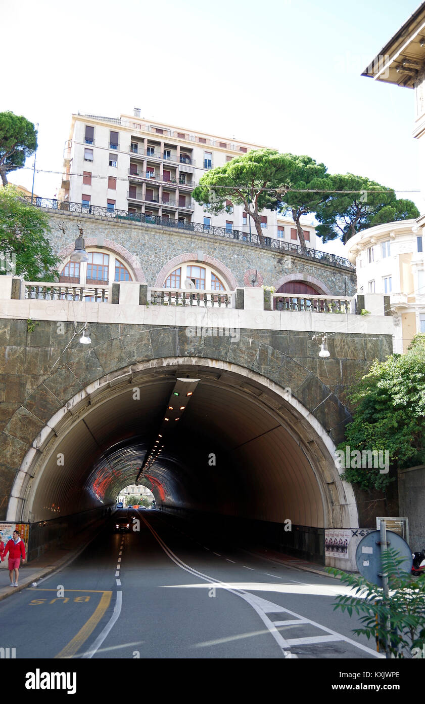 Genoa Italy, a multi-layered city, Galleri C. Colombo tunnel linking two parts of the city with streets at several - Stock Image