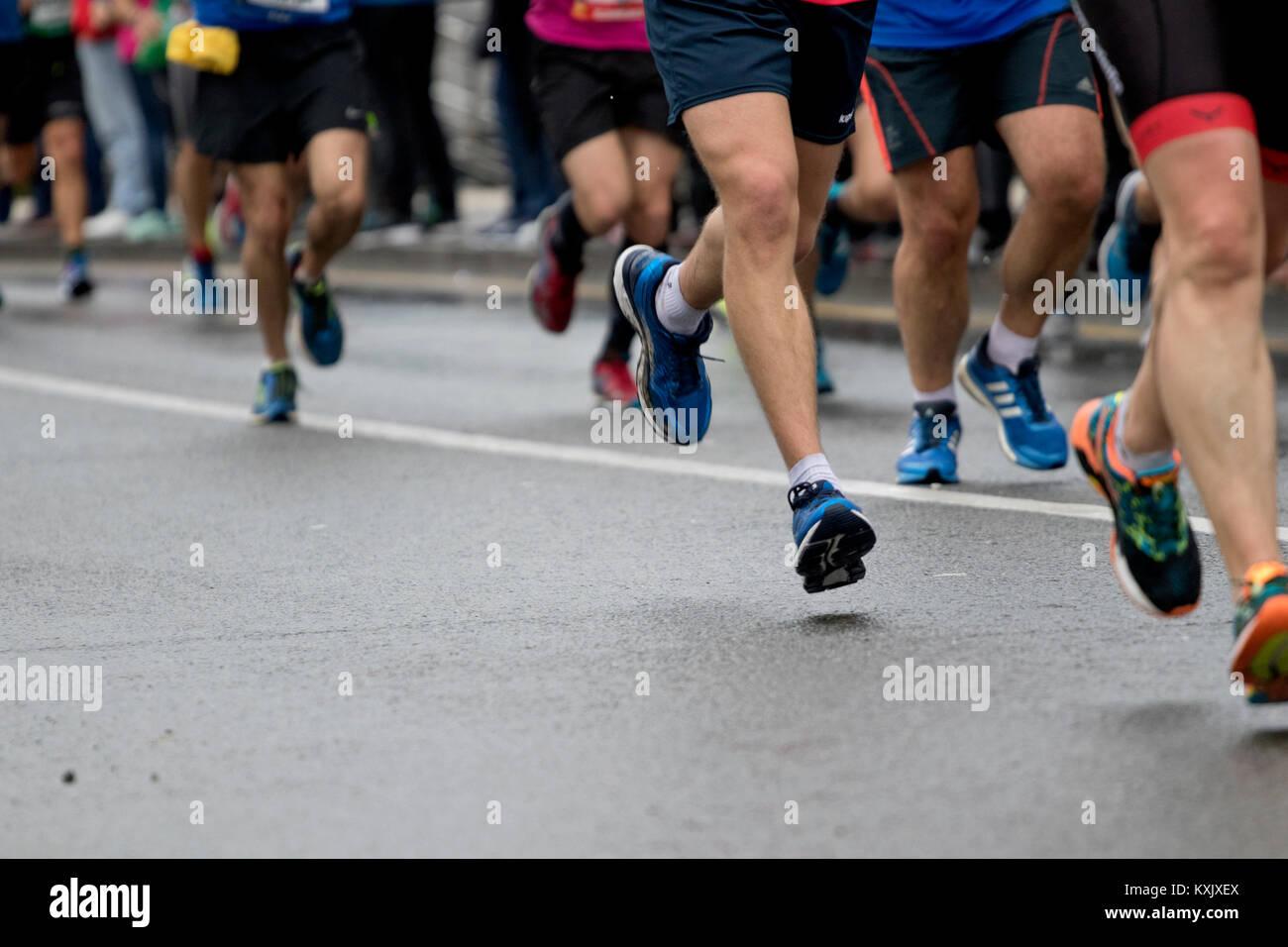 Group of runners from Behobia-Donostia marathon 2017 (Euskadi, Spain). - Stock Image