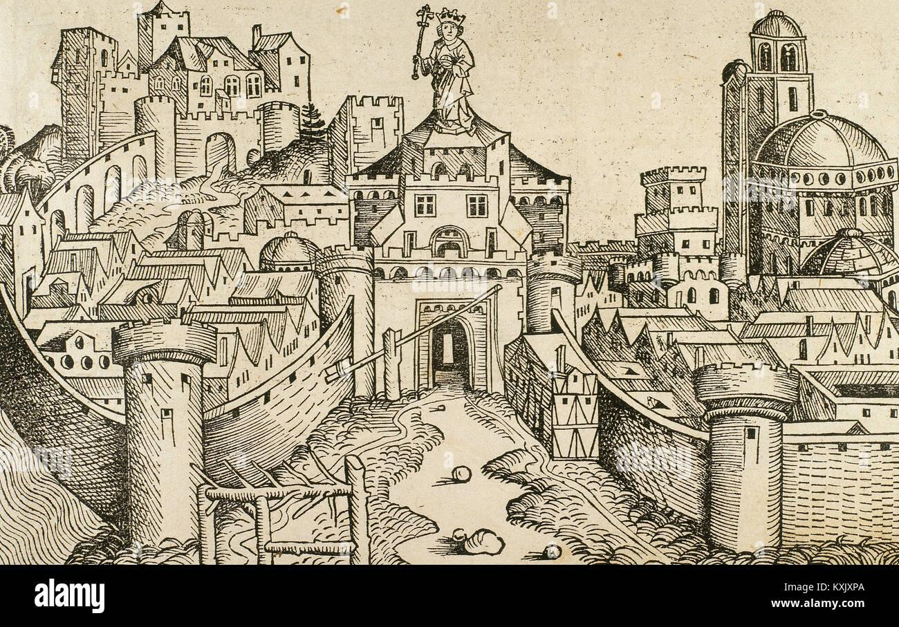 Greece. Corinth. Tiberias. Engraving. Liber Chronicarum de Hartmann Schedel, 1493. - Stock Image