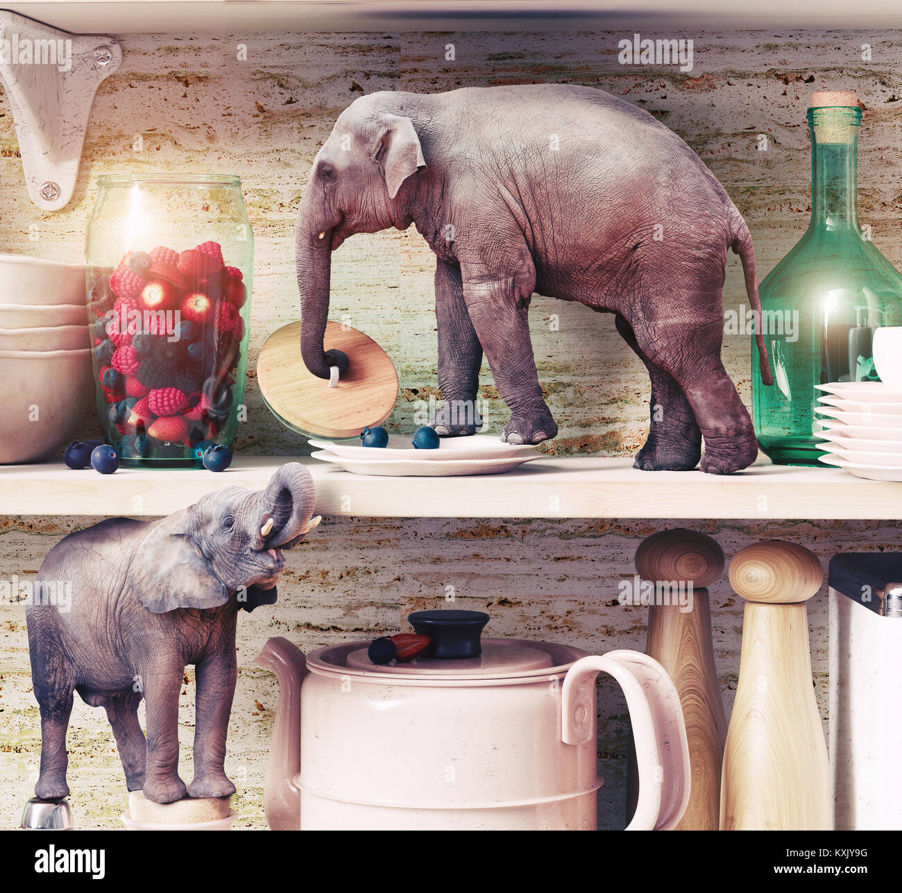 The tiny elephants opens the glass vase with berries. Photo combination concept - Stock Image