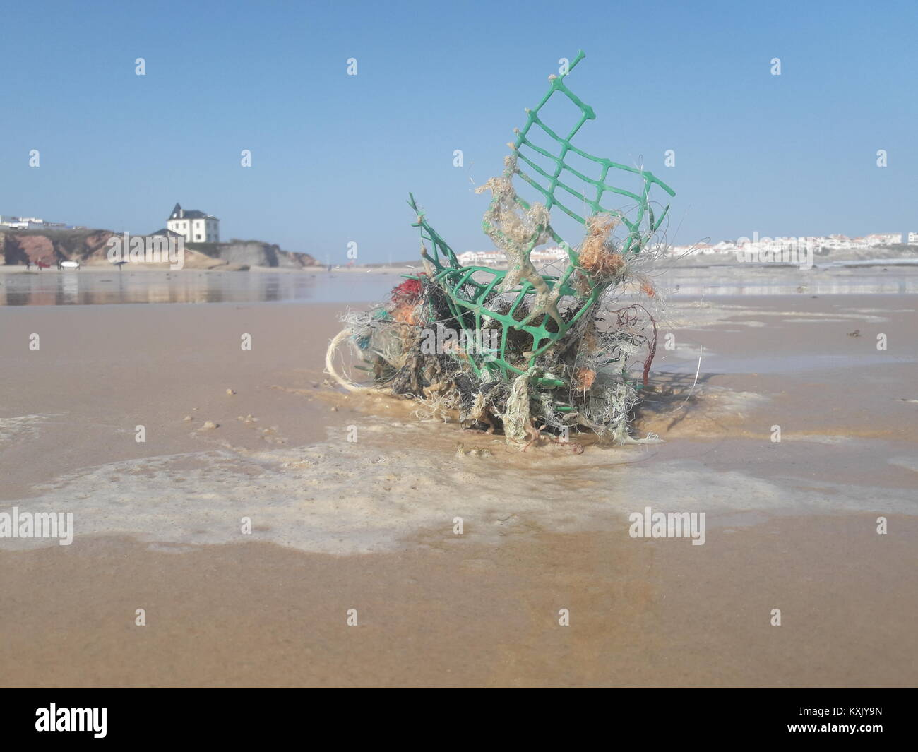 Marine Litter Sculpture at the Beach, Stranded Plastic Debris from Fishing Industry in beautiful Baleal. - Stock Image