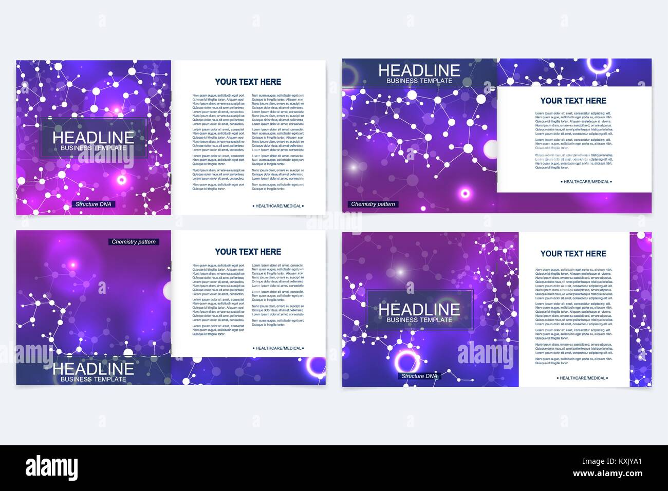Templates for square brochure. Leaflet cover presentation. Business, science, technology design book layout. Scientific - Stock Image