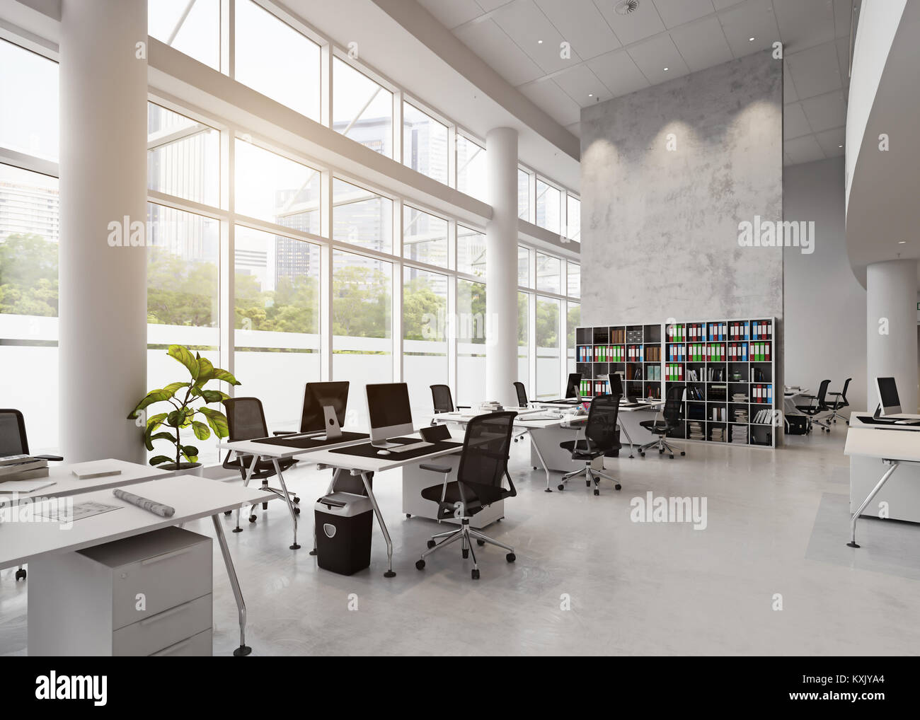 modern office building interior. 3d rendering concept stock photo