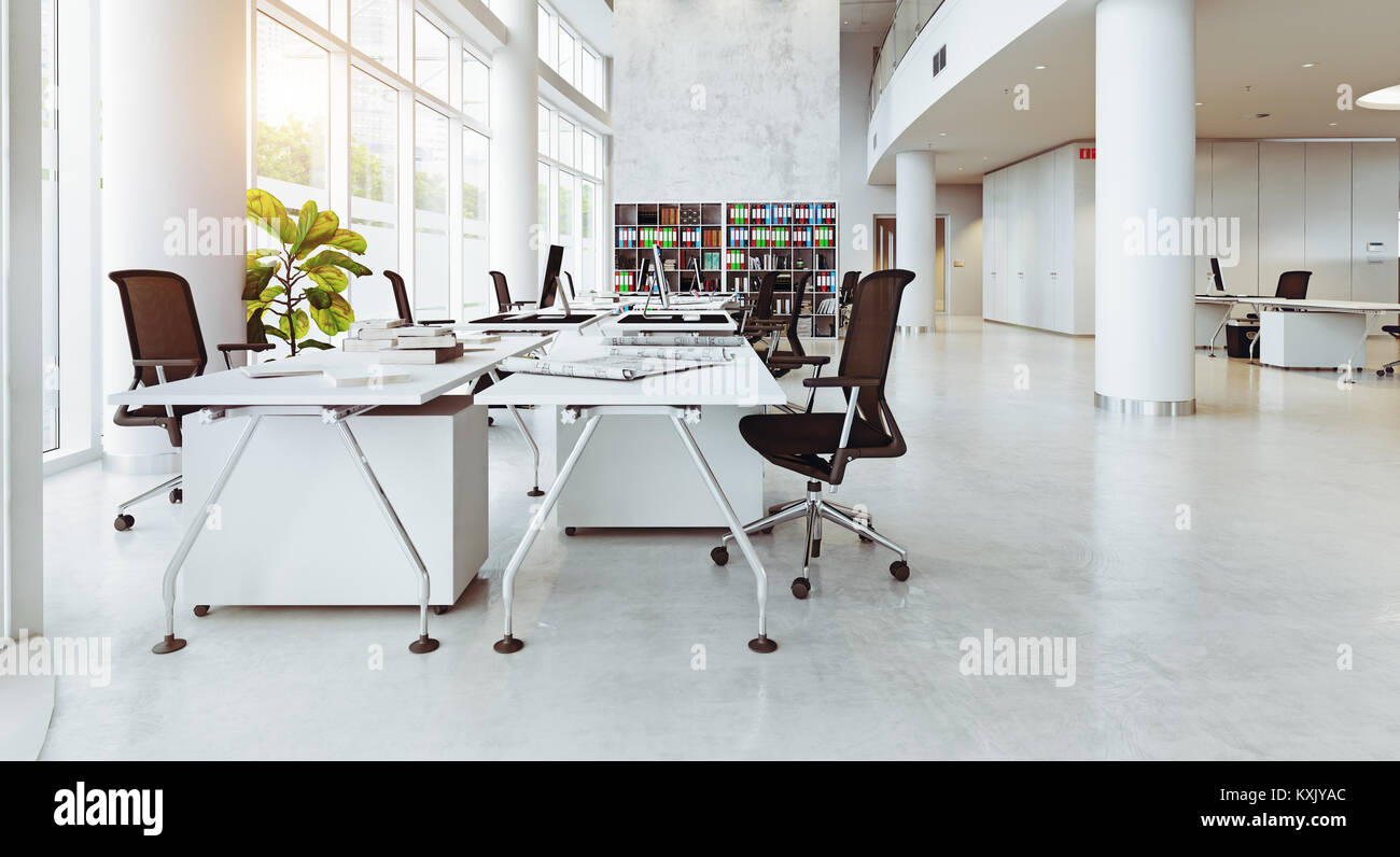 modern office building interior. 3d rendering concept - Stock Image