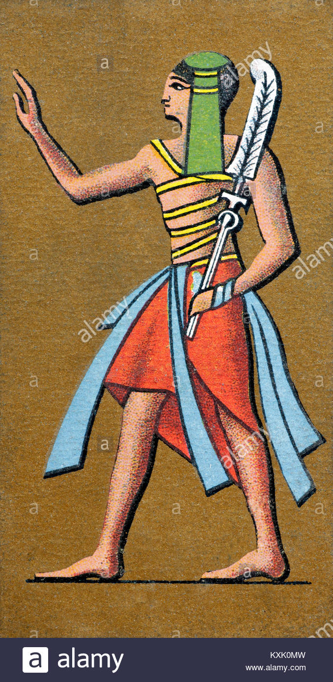 Depiction of an ancient Egyptian Standard bearer in the Egyptian army - Stock Image