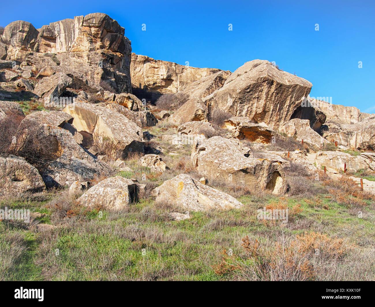 Chalk-stone rocks in the Gobustan National Park, Azerbaijan - Stock Image