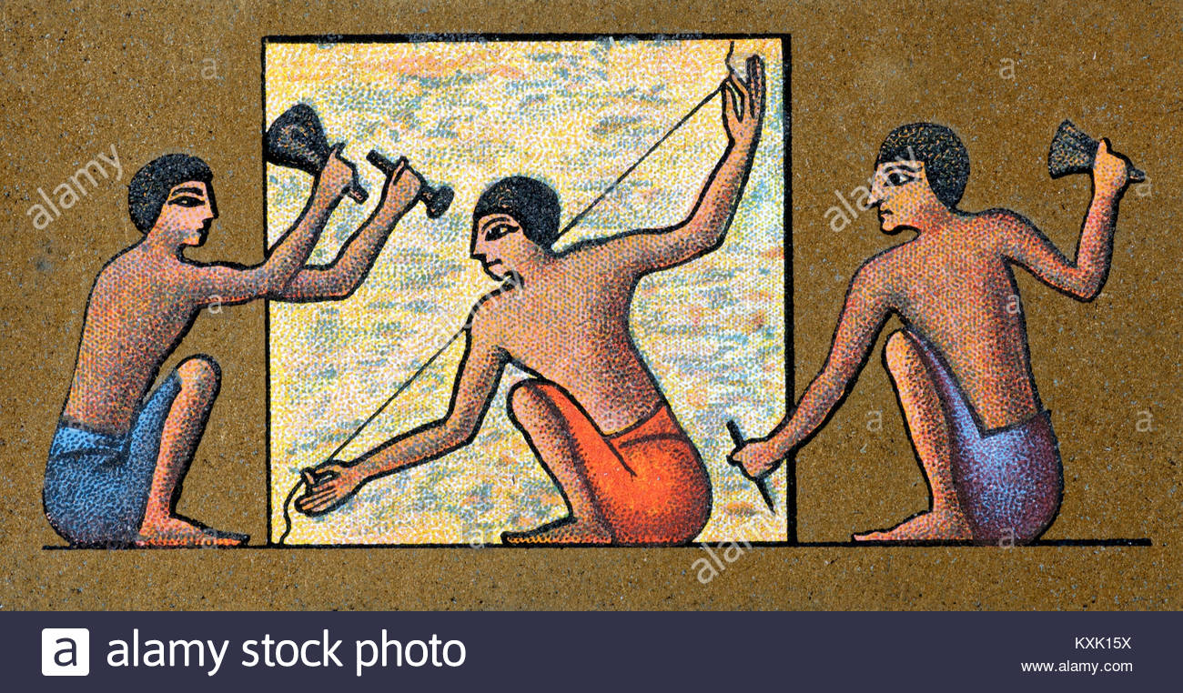 Depiction of ancient Egyptians quarrying, measuring and shaping blocks - Stock Image