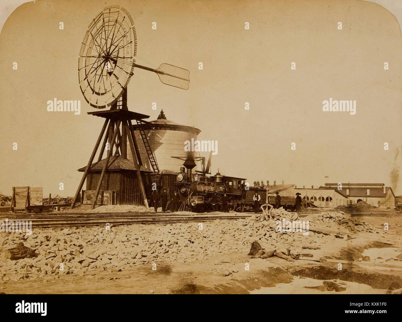 Wyoming Railroad Photo, Circa 1868 - 1869; 'Windmill / Laramie, Wyoming' - Stock Image