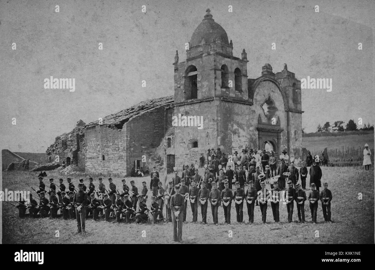 Cal. St. Patrick Cadets At The San Carlos Mission, Monterey, Ca - Stock Image