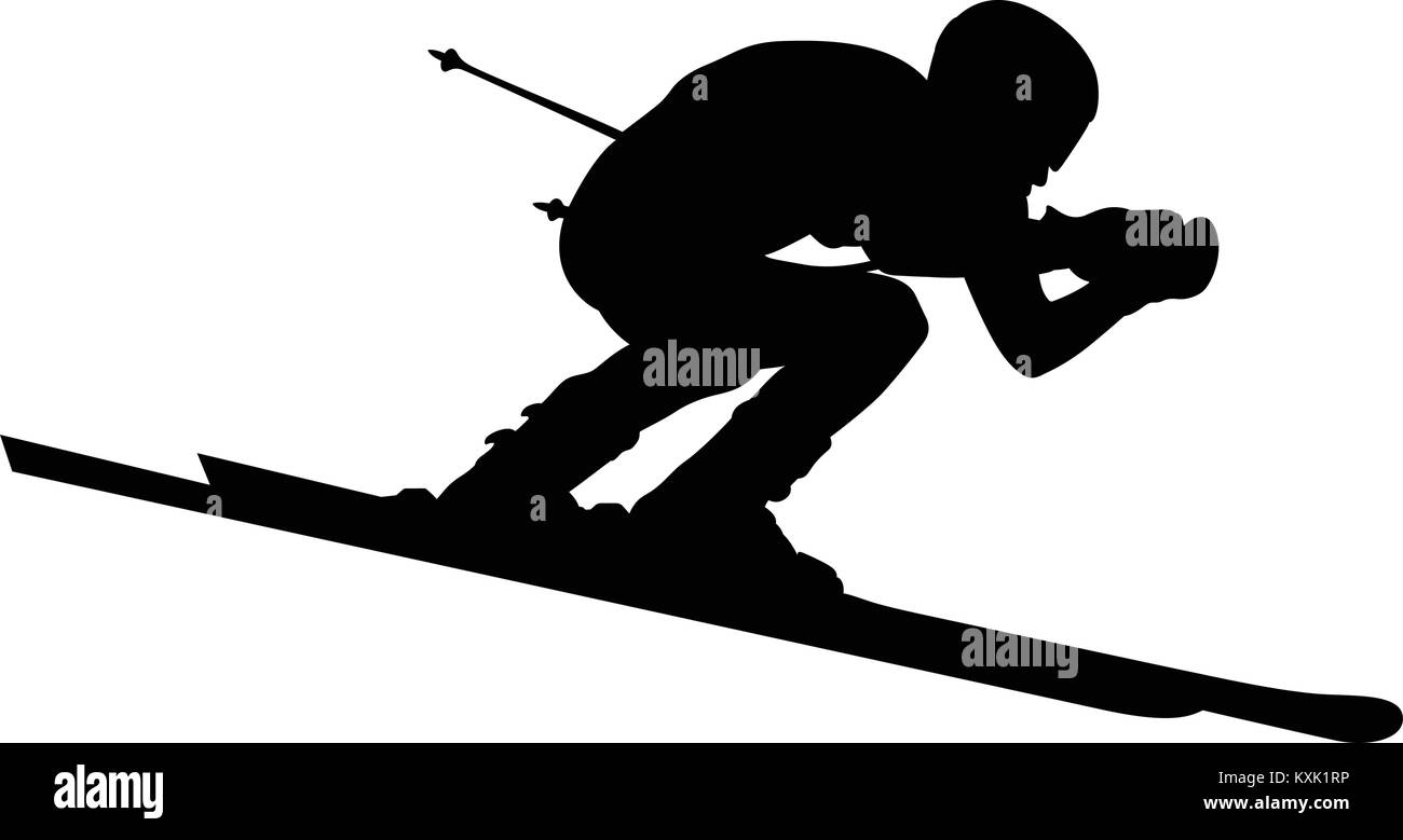 male alpine skier black silhouette extreme sports - Stock Vector