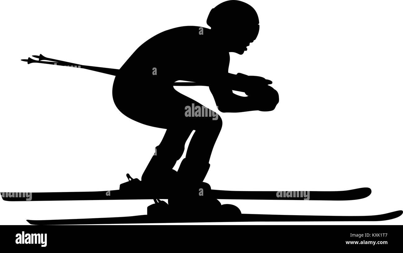 black silhouette athlete skier in alpine skiing slalom - Stock Vector