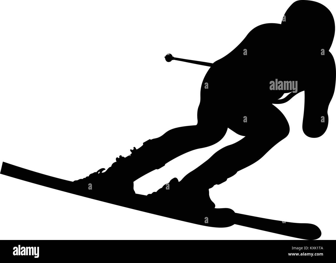 dynamic athlete skier in alpine skiing downhill - Stock Vector