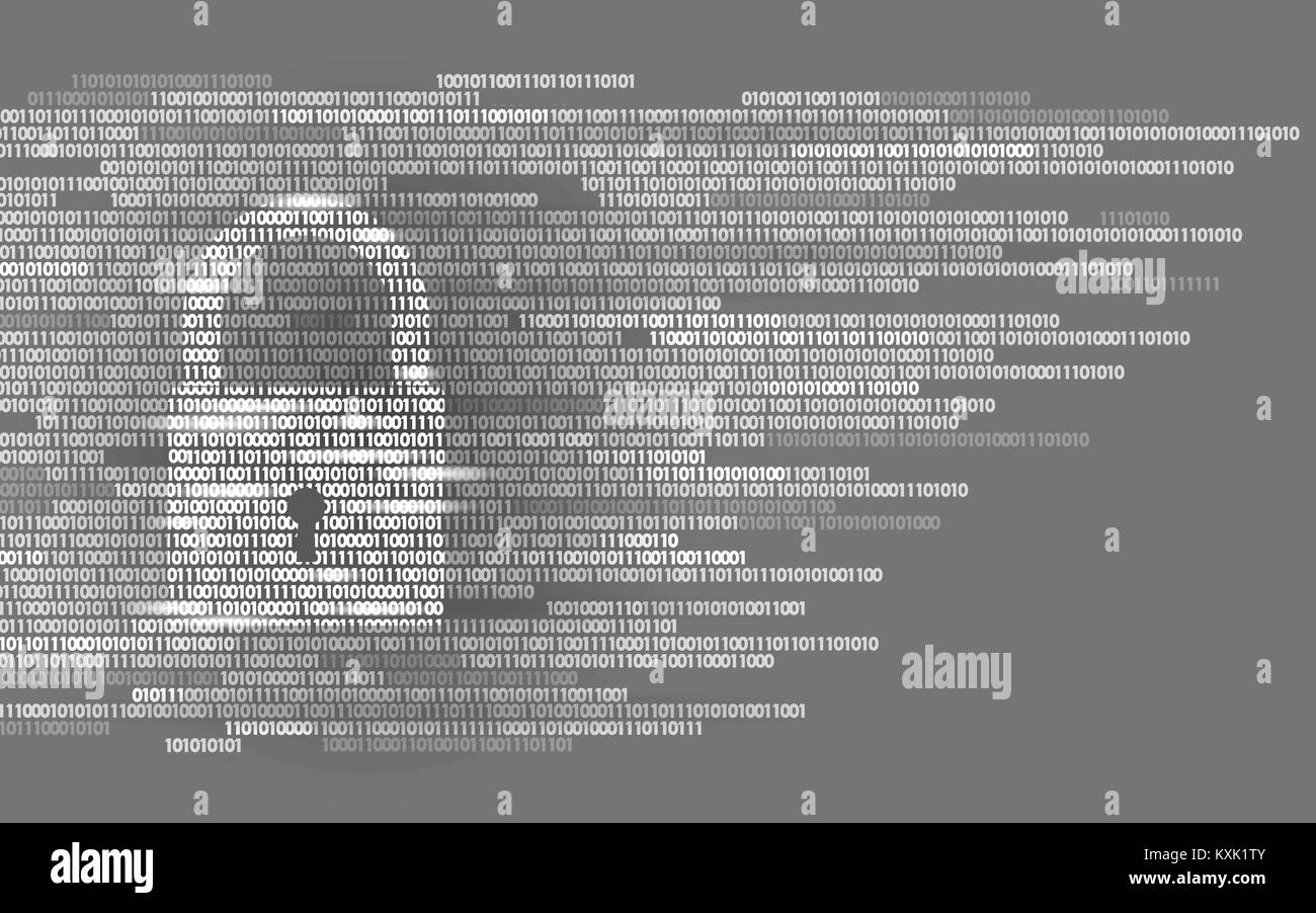 Digital lock guard sign binary code number. Big data personal information safety technology. White monochrome glowing - Stock Image