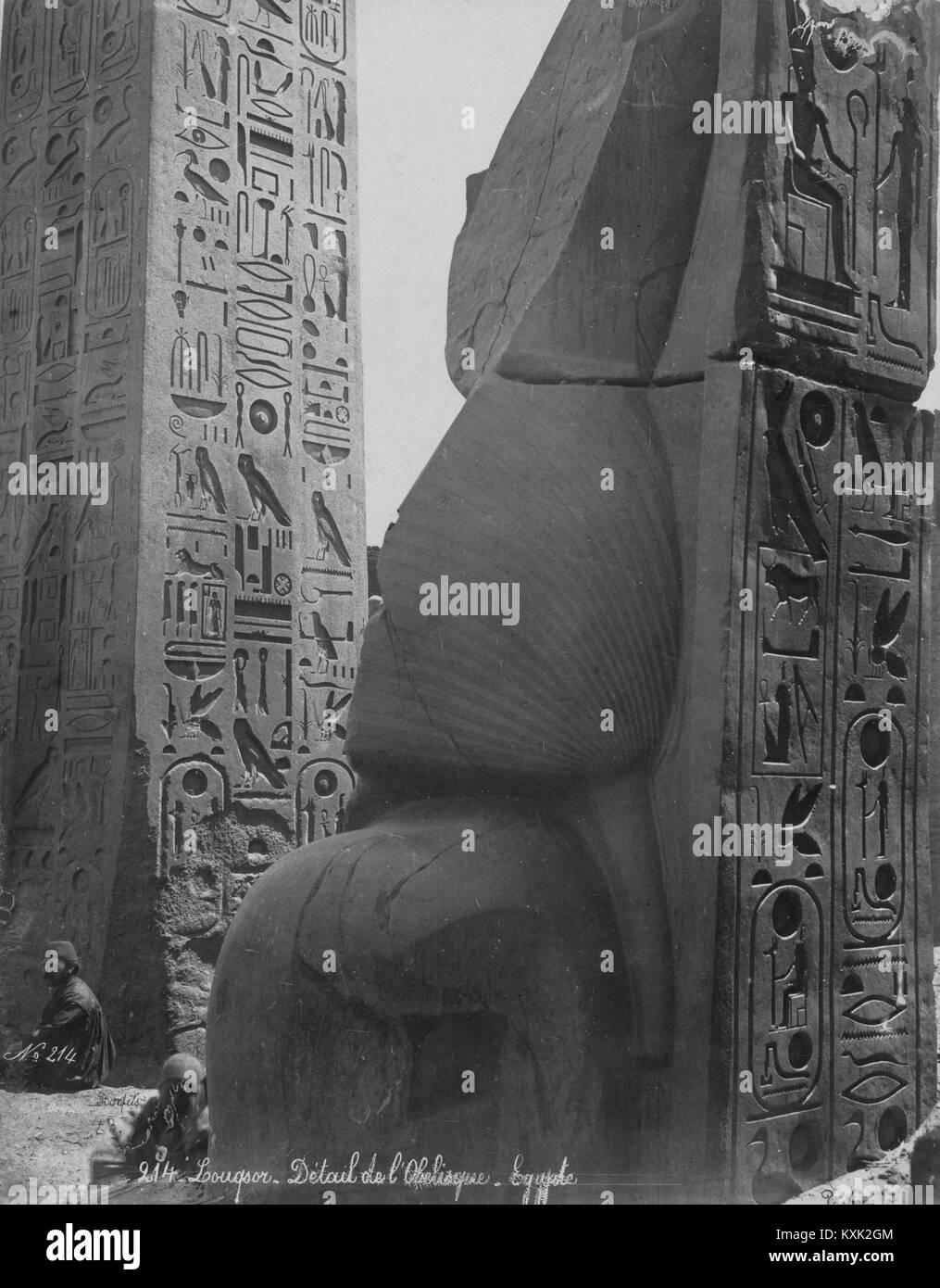 Louqsor. Détail de l'Obelisque. Egypte - Stock Image