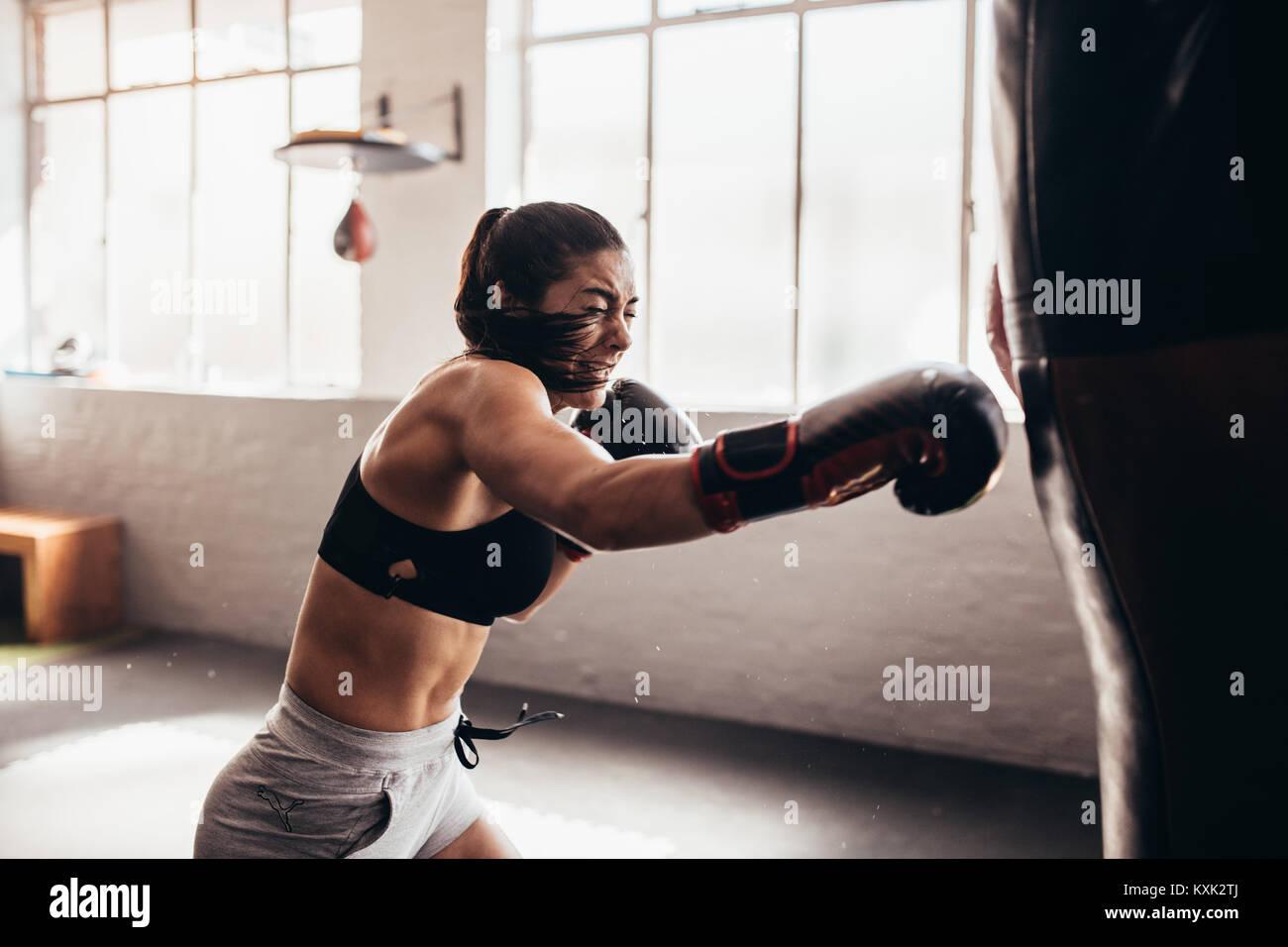 Boxer girl takes gigantic cock massive load