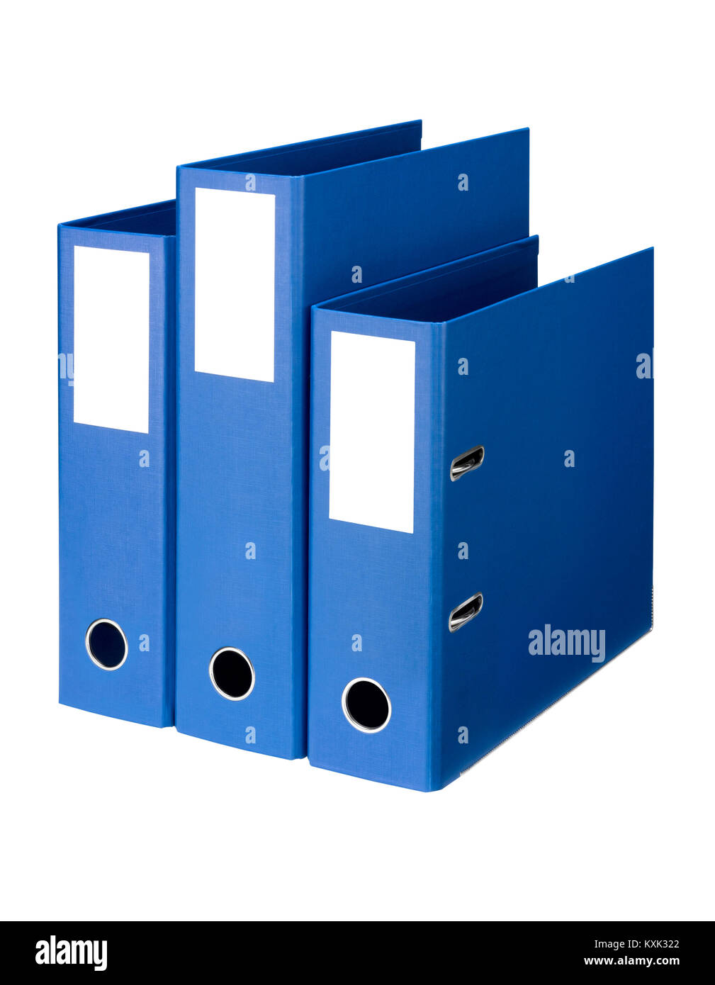 A cut out shot of three storage folders for storing documents - Stock Image