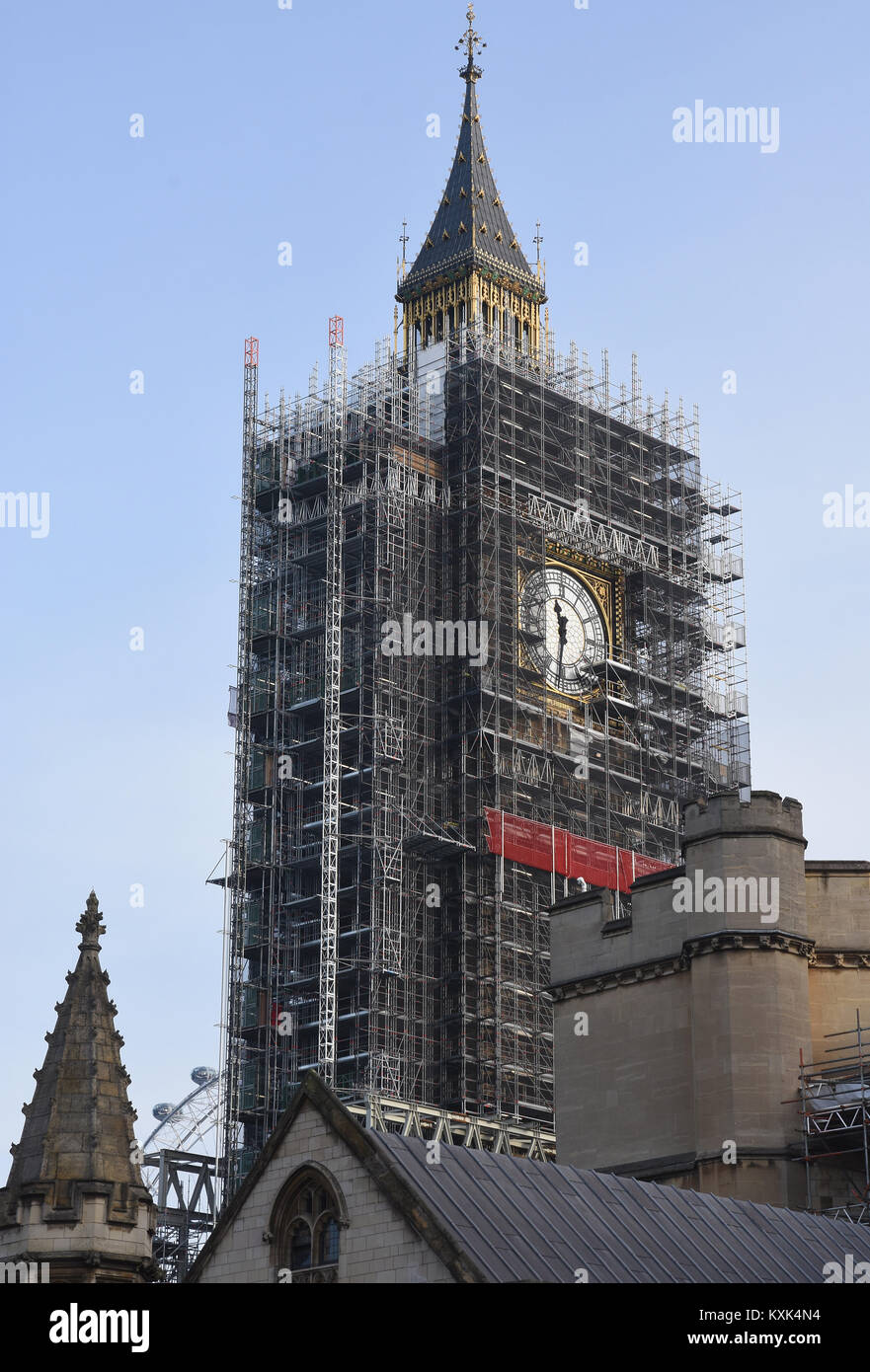 Scaffolding envelopes Big Ben as renovation work continues, Houses of Parliament,Westminster,London.UK Stock Photo