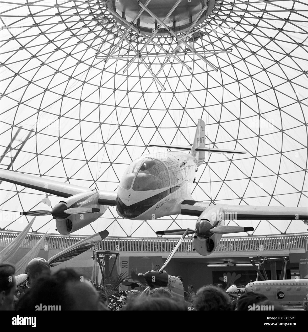 III Exhibition of Czechoslovak Engineering,Aero Ae-45 aircraft,aerotaxi Aero-Super - Stock Image