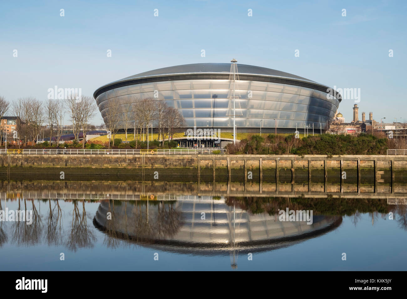 View of SSE Hydro arena beside River Clyde in Glasgow , United Kingdom - Stock Image