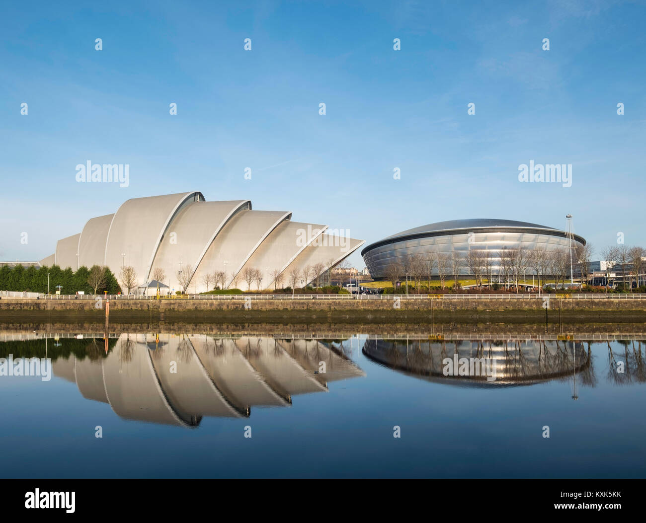 View of SEC Armadillo centre and SSE Hydro arena beside River Clyde in Glasgow , United Kingdom - Stock Image