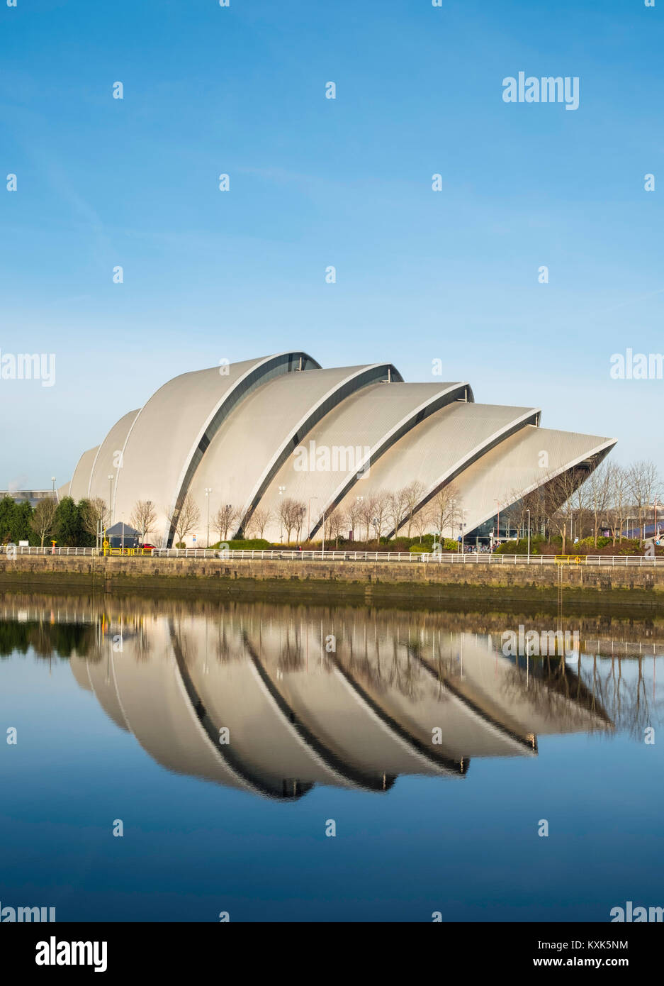 View of SEC Armadillo centre beside River Clyde in Glasgow , United Kingdom - Stock Image
