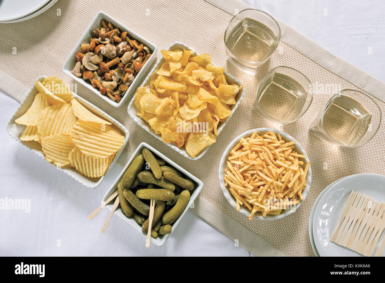 mushrooms and gherkins aperitif chips from above 2 - Stock Image