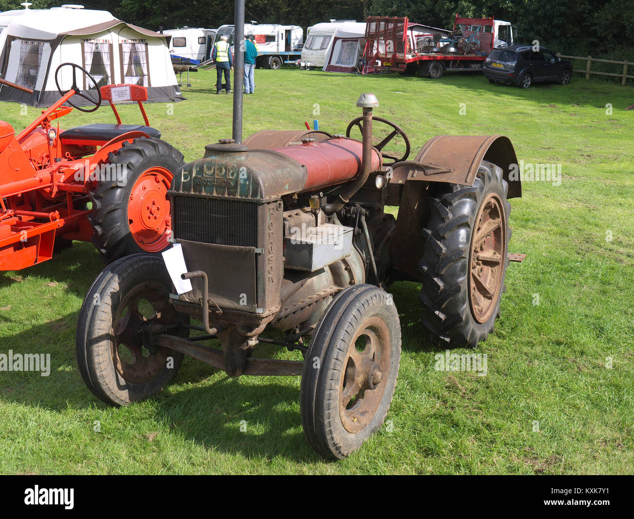 Vintage fordson tractor in need of tlc at Normanby Hall - Stock Image