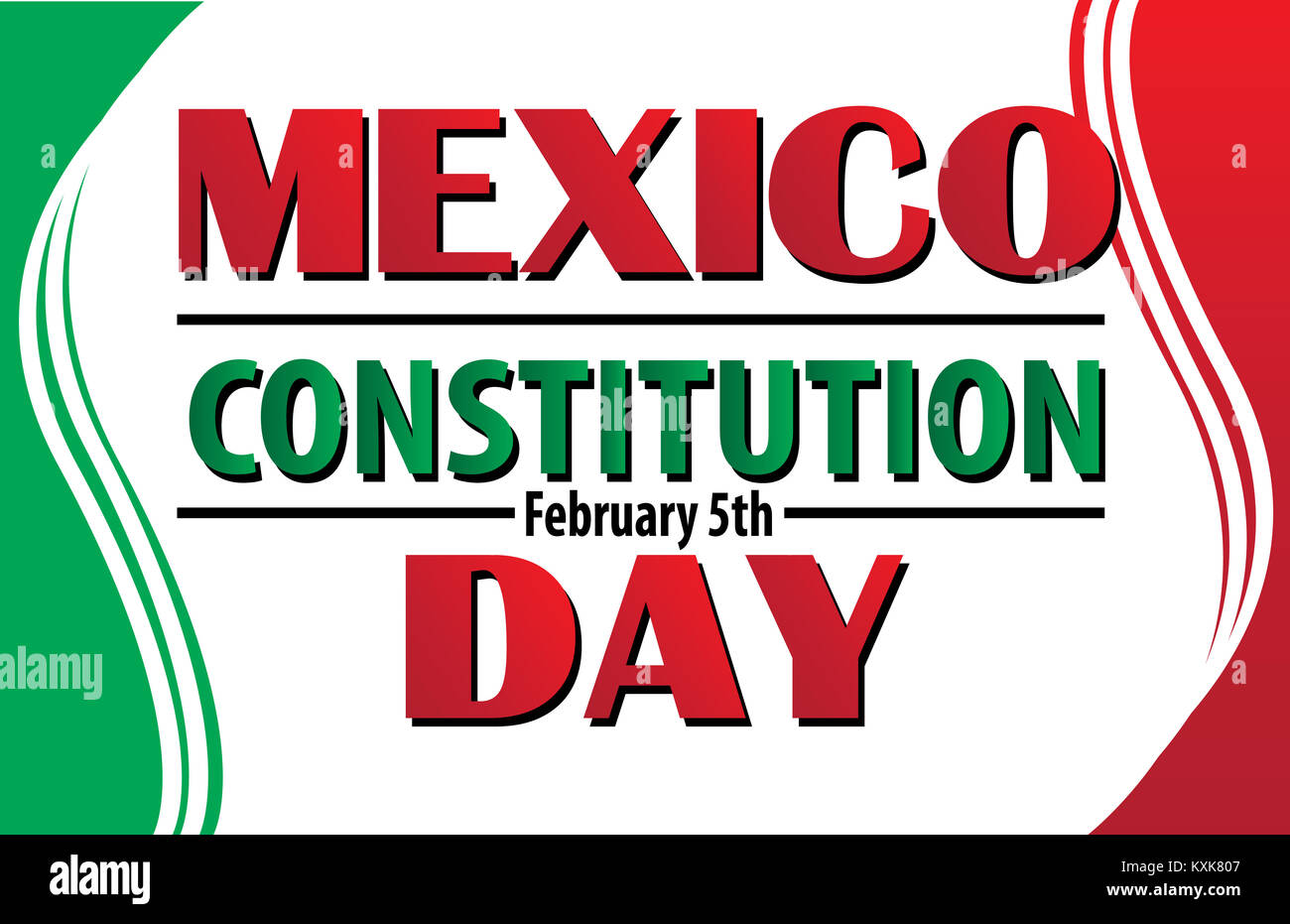 Mexico Constitution Day February 5 Logo With Mexican Flag