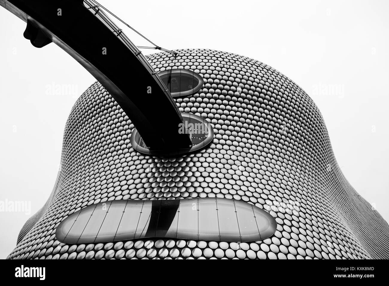 Black and white image looking up at the iconic Selfridges Building in the heart of Birmingham city centre.  The - Stock Image