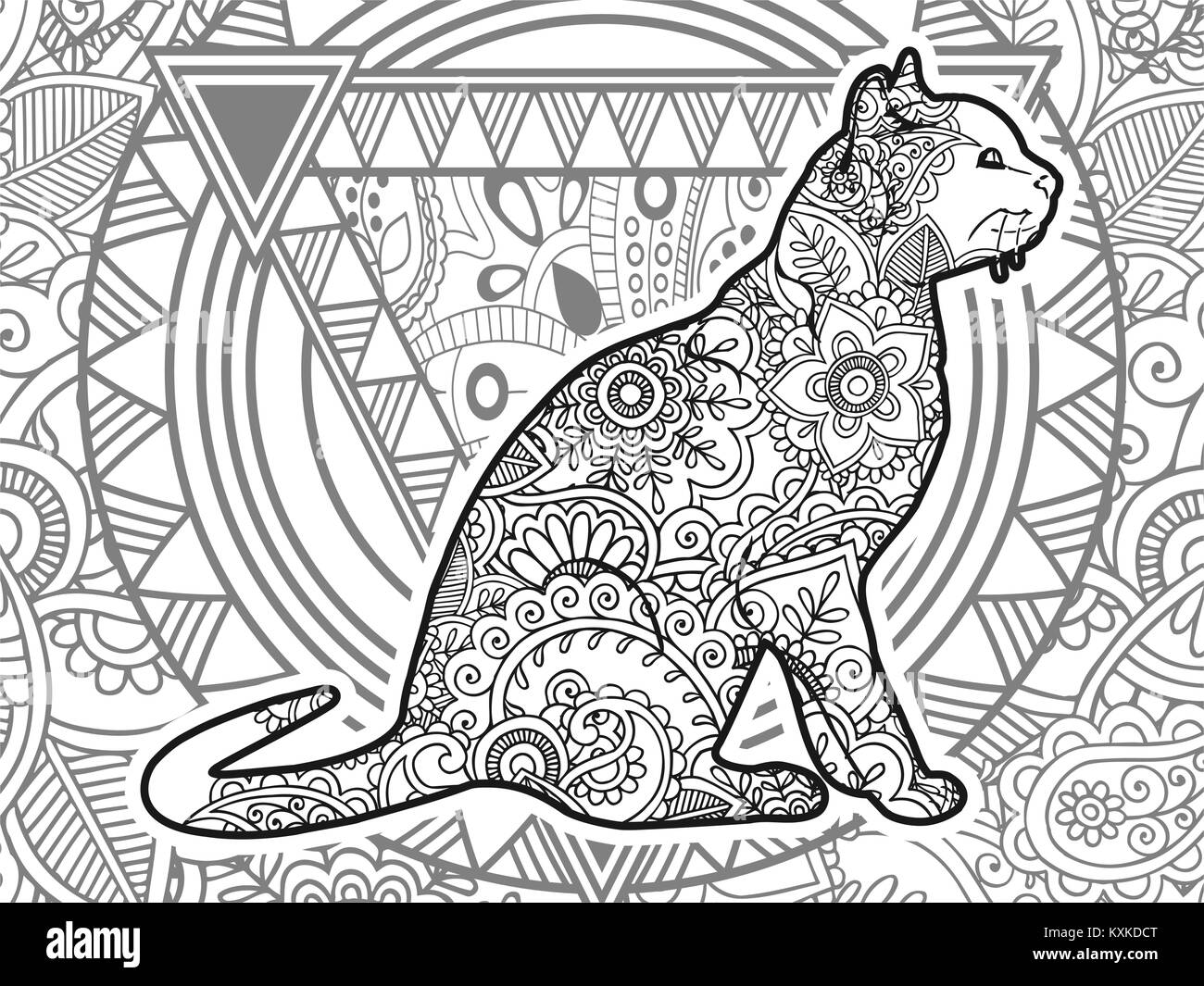 Black And White Hand Drawn Doodle Animal Paisley Adult Stress Release Coloring Page Zentangle Vector