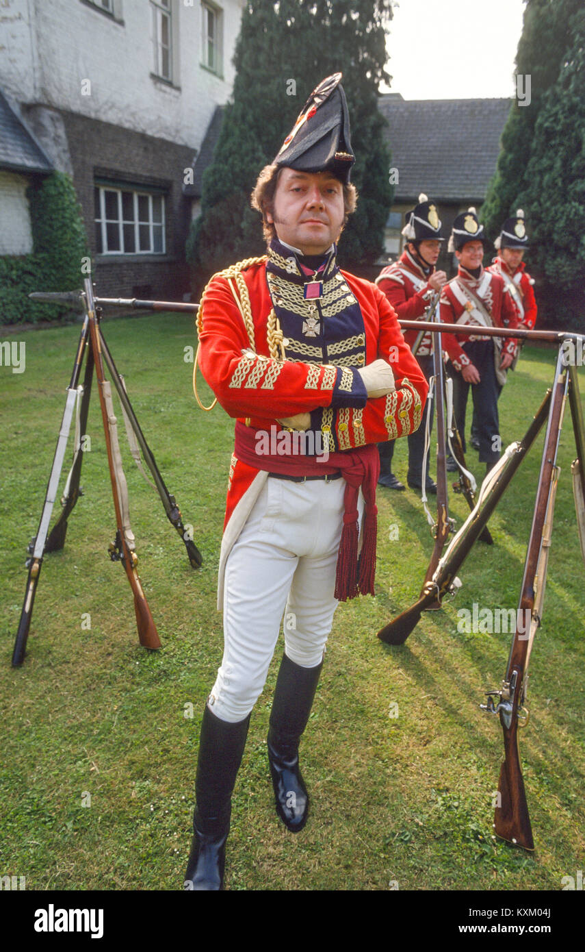 The Battle of Waterloo 175th anniversary re-enactment on June 19th 1990:   The gentleman playing Wellington. - Stock Image