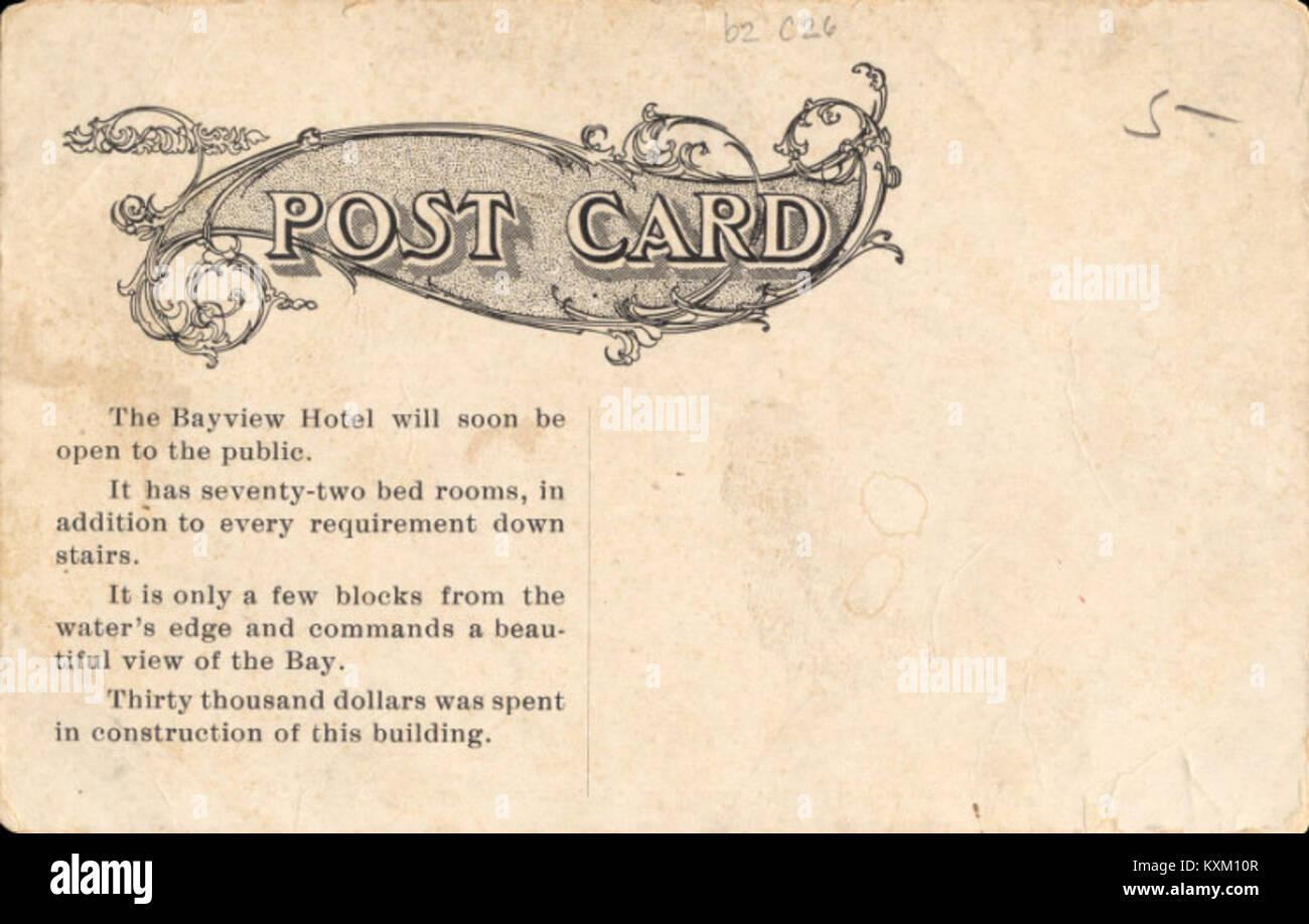 Bay-View Hotel, Aransas Pass, TX (postcard back) - Stock Image