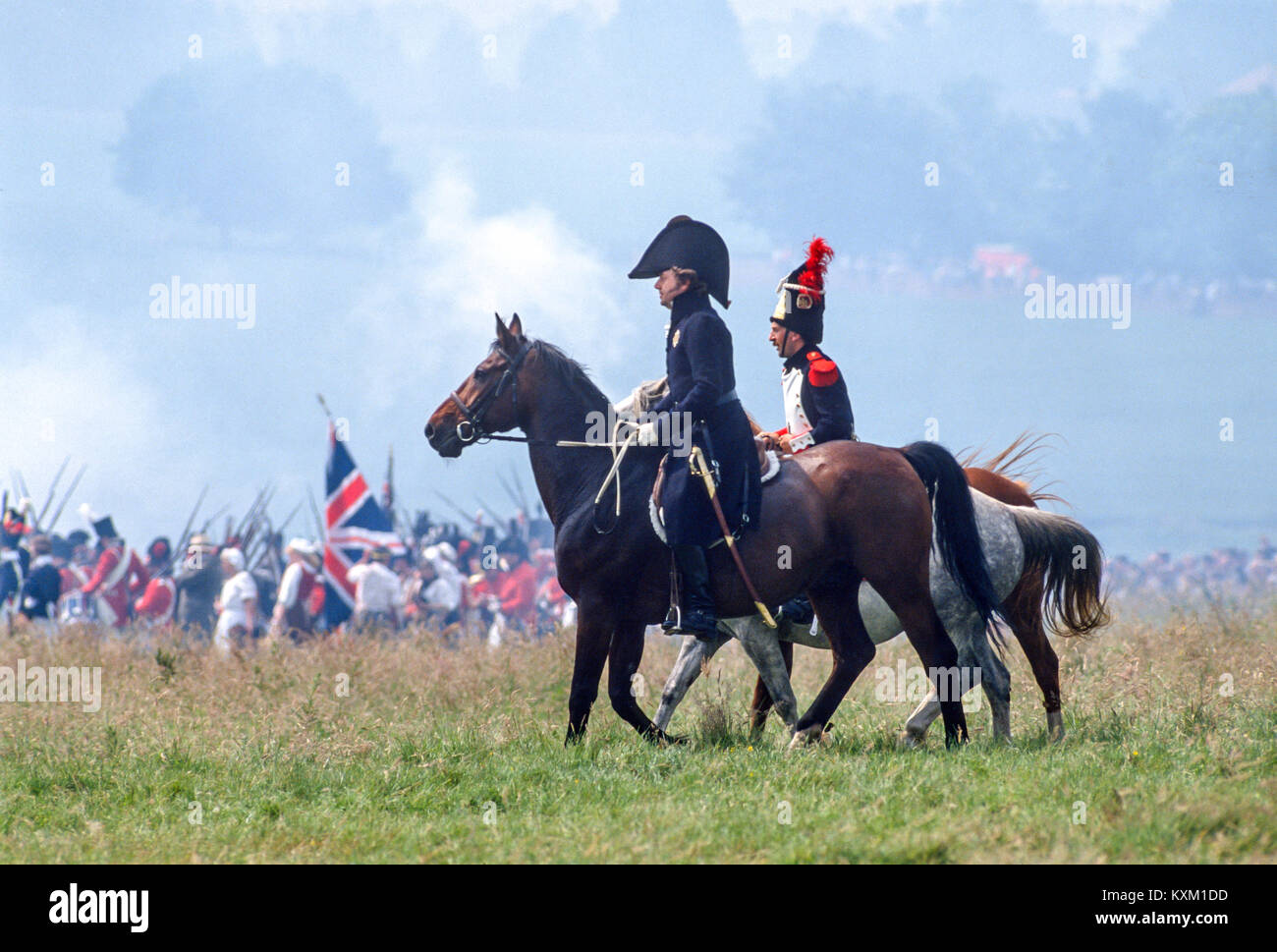 The Battle of Waterloo 175th anniversary re-enactment on June 19th 1990:   'Wellington' rides out to inspect - Stock Image