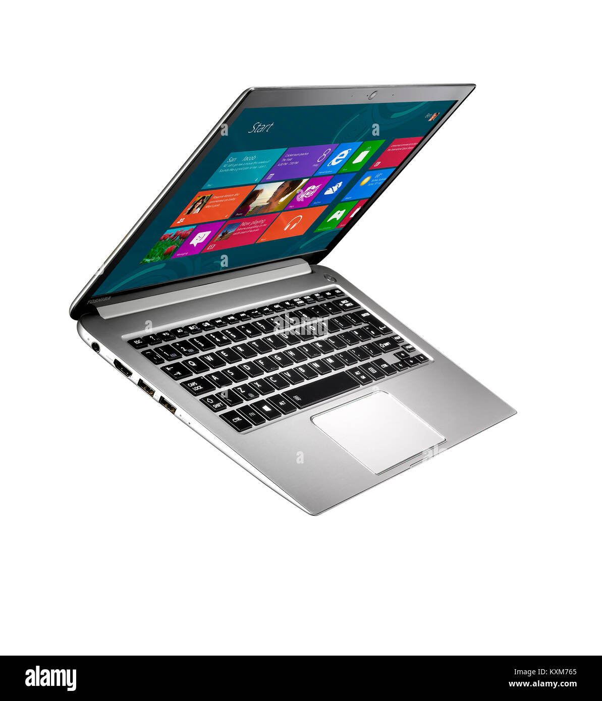 A cut out shot of a modern thin laptop - Stock Image