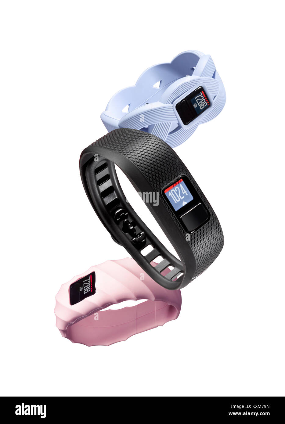 Three different types of wrist fitness monitors - Stock Image