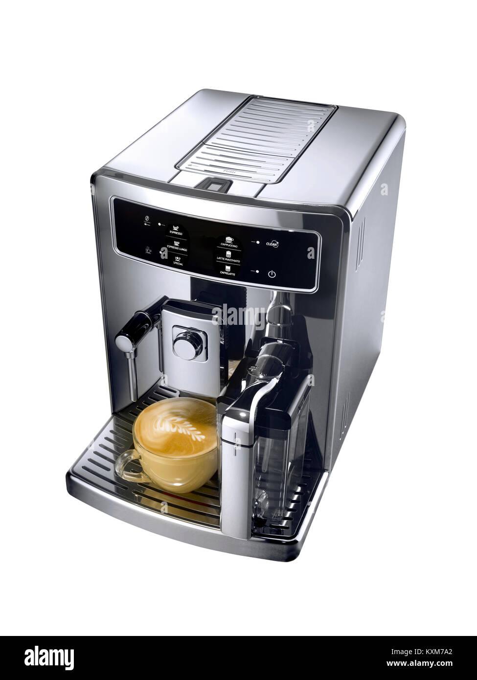 A wide angel shot of a modern kitchen coffee machine - Stock Image