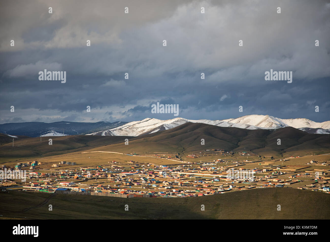 Mongolia ger camp Ulan Bator morning sun rays - Stock Image