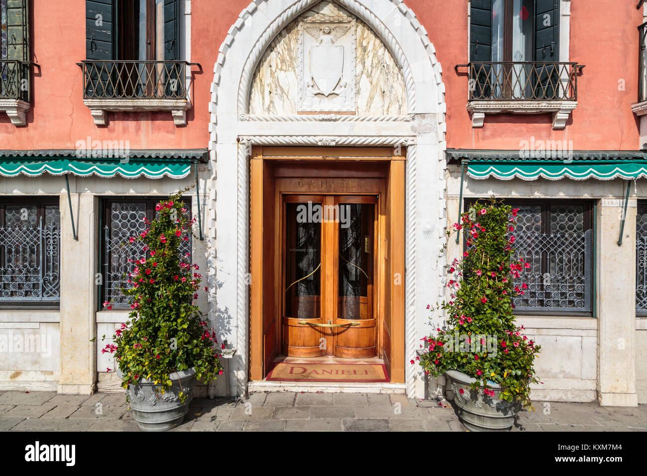 A restaurant entrance door in Veneto, Venice, Italy, Europe. - Stock Image