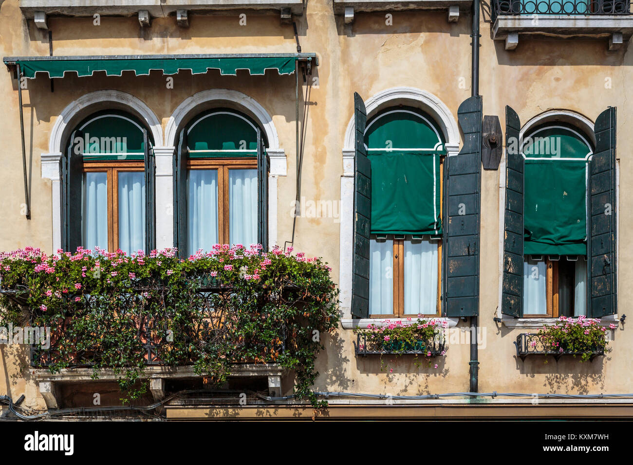 Window boxes and flowers in Veneto, Venice, Italy, Europe. - Stock Image