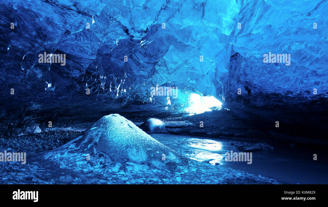 Ice Cave in Iceland / Vatnajökull National Park - Stock Image