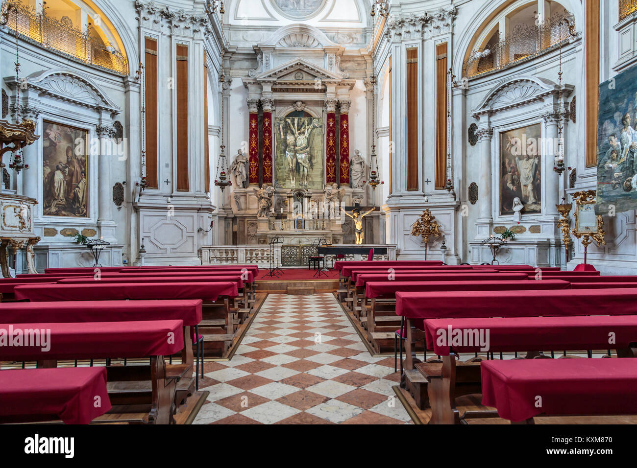 Church of the Pietà - Saint Mary of the Visitation interior in Veneto, Venice, Italy, Europe, - Stock Image