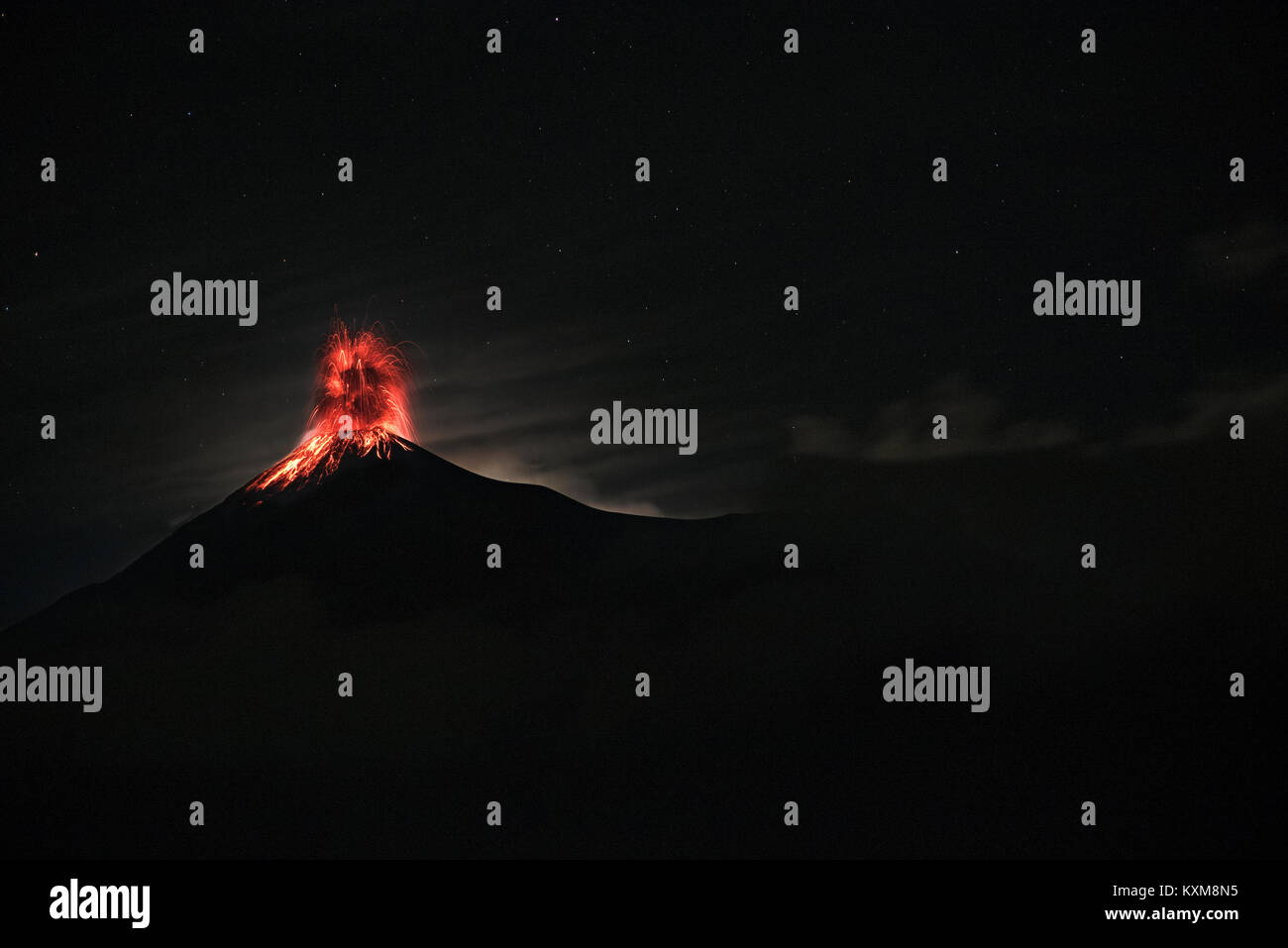 Guatemala's Fuego Volcano erupts at night - Stock Image