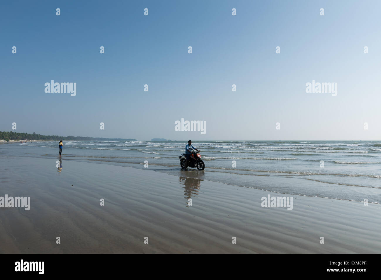Drive in beach, Kerala, KTM Duke ride - Stock Image