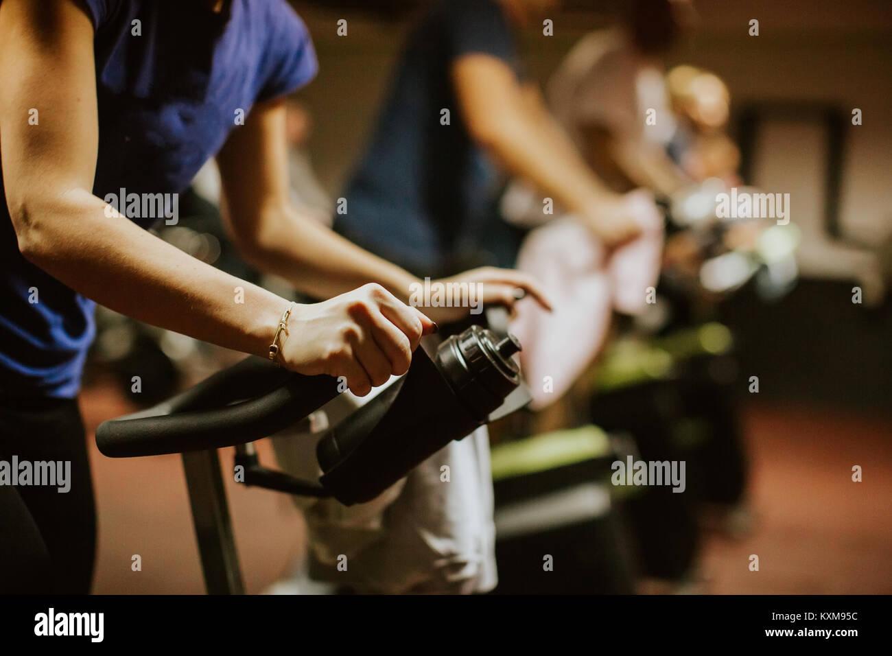 Cycling class. Fat Burning Workout - Stock Image