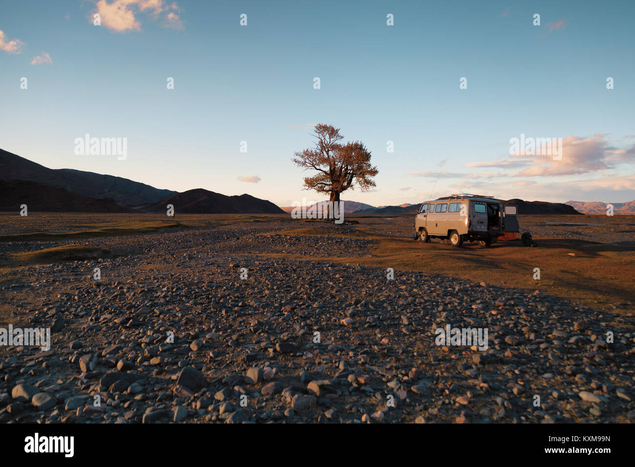 Camping site camper van sunset light lonely tree Mongolia river bed russian UAZ 452 - Stock Image