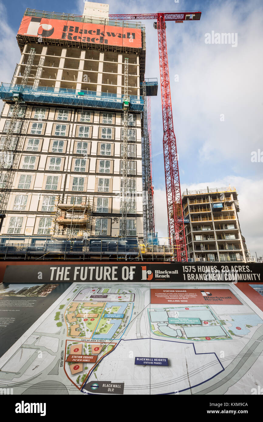 Blackwall Reach regeneration project in Tower Hamlets, east London, UK. - Stock Image